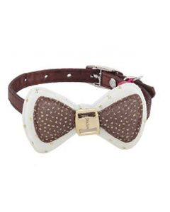 Petsworld High Quality Designer Adjustable Bow Design Collar for Puppy/Cat - Brown