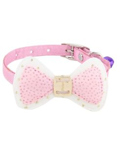 Petsworld High Quality Designer Adjustable Bow Design Collar for Puppy/Cat - Pink