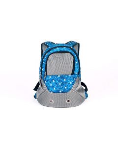 Petsworld Breathable Mesh Front Bag Head Out Design Double Shoulder Padded Bike Hiking Outdoor Pet Carrier, Blue (Small)
