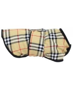 Petsworld Check Fleece Coat For Dogs Cream Size 12