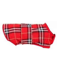 Petsworld Check Fleece Coat For Dogs Red Size 12
