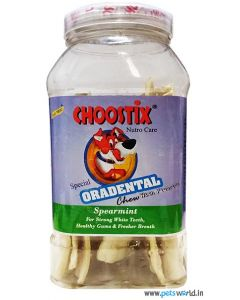Choostix Oradental Chew with Fluoride in Spearmint Flavor 125 gms