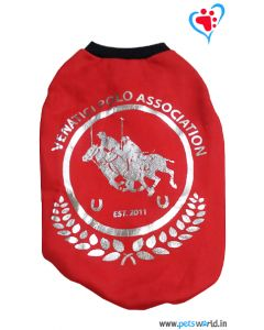 """DOGEEZ Winter Dog Tshirt """" POLO """" Red 14 Inches"""