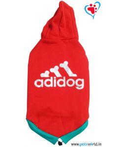 "DOGEEZ Winter Hooded Dog Tshirt "" ADIDOG "" Red 18 Inches"