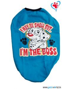 "DOGEEZ Winter Dog Tshirt "" I'M THE BOSS "" Blue 24 Inches"