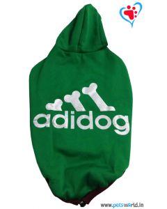 """DOGEEZ Winter Hooded Dog Tshirt """"ADIDOG"""" Green 24 Inches"""