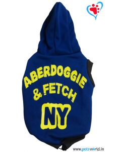 "DOGEEZ Winter Hooded  Dog Tshirt "" ABERDOGGIE "" Blue 12 Inches"