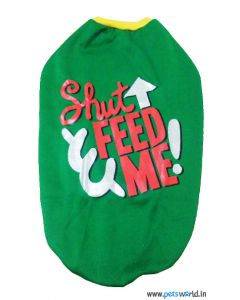 "DOGEEZ Winter Dog Tshirt ""SHUT FED ME"" Green 18 inches"