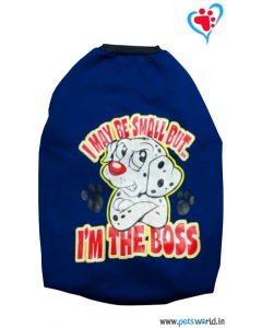 "DOGEEZ Winter Dog Tshirt "" I'M THE BOSS "" Blue 22 inches"