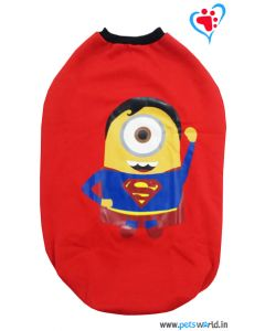 "DOGEEZ Winter Dog Tshirt ''SUPER MINIONS"" Red 20 Inches"