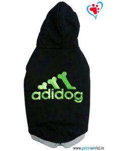 "DOGEEZ Winter Hooded Dog Tshirt "" ADIDOG "" Black 10 Inches"