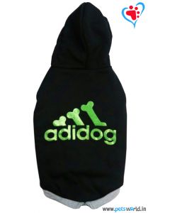 "DOGEEZ Winter Hooded Dog Tshirt "" ADIDOG "" Black 12 Inches"