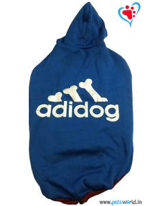 "DOGEEZ Winter Hooded Dog Tshirt "" ADIDOG "" Blue 24 Inches"
