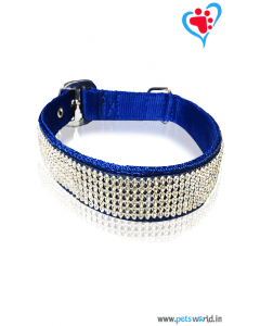 Petsworld Crystal Dog Collar And Leash Medium (Blue)