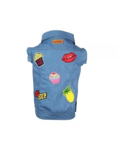 Petsworld Denim Wear Patched Jacket for Dogs Size 12