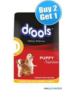 Drools Puppy Chicken And Egg Chunks Gravy Pouch 150 gms BUY 2 GET 1