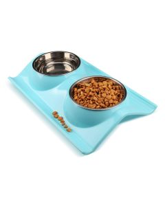 Petsworld Stainless Double Food and Water Bowl for Cat-Puppy Small Blue