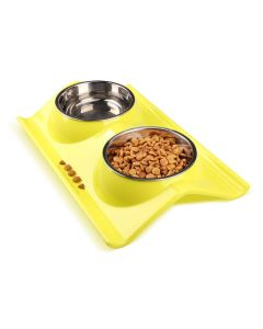 Petsworld Stainless Double Food and Water Bowl for Cat-Puppy Small Yellow