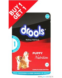 Drools Puppy Real Chicken And Liver Chunks Gravy Pouch 150 gms Buy 1 Get 1