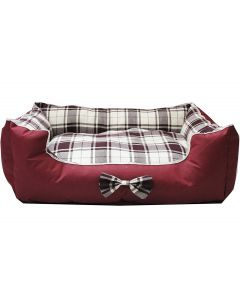 Petsworld Dual Side Use Waterproof Canvas & Clothing Dog Bed Maroon Large