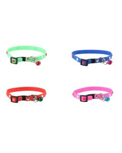 Petsworld High Quality Adjustable Soft Silicon Embossed Heart Design Puppy - Cats - Kitten Collars - Set of 4