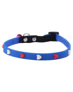 Petsworld High Quality Adjustable Soft Silicon Embossed Heart Design Puppy - Cats - Kitten Collars - Blue