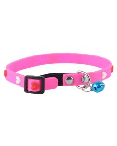 Petsworld High Quality Adjustable Soft Silicon Embossed Heart Design Puppy - Cats - Kitten Collars - Pink