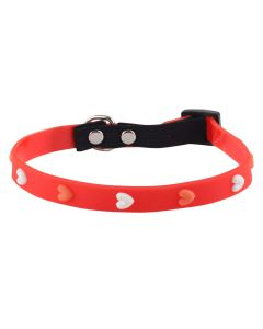 Petsworld High Quality Adjustable Soft Silicon Embossed Heart Design Puppy - Cats - Kitten Collars - Red