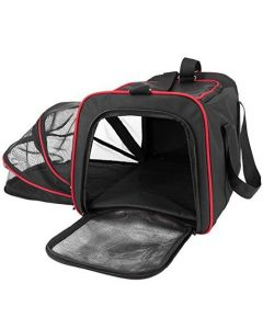 Petsworld Expandable Soft Sided Foldable Travel Dog Cat Carrier with Fleece Mat