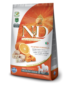 Farmina N&D Grain Free Pumpkin Codfish and Orange Adult, Medium and Maxi Dog Food, 12 kg