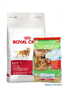 Royal Canin Fit 32 2 Kg + 400 gms FREE And Cat Best Cat Litter 10 Ltr Combo