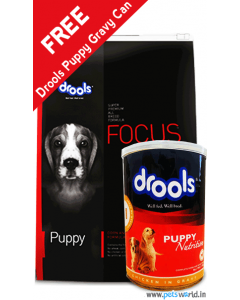 Drools Focus Puppy Dog Food 15 Kg + FREE Drools Puppy Gravy Can 400 gms