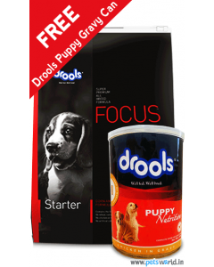 Drools Focus Starter Dog Food 15 Kg + FREE Drools Puppy Gravy Can 400 gms