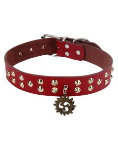 Petsworld High Quality Adjustable Dog Collar 1.2 Inch with Golden Rivet Spikes & Designer Locket (Red)