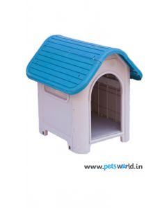 All4Pets Fibre Pet Hut Without Door Medium Blue/Grey  LxWxH - 21.5x16.9x22.4 inch