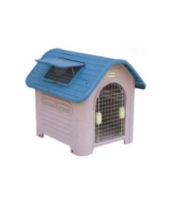 All4Pets Fibre Pet Hut with Door Medium Blue/Grey  LxWxH - 53.5x18.5x76 cm