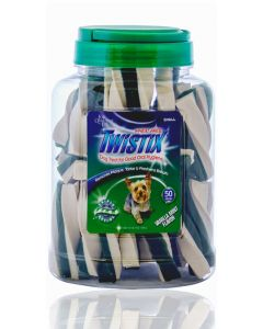 Twistix Dental Dog Treats Vanilla Mint Container Small 50 Sticks