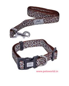 Pets Empire Animal Print Dog Collar + Leash Set Medium
