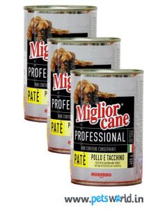Morando Miglior Cane Professional Chicken and Turkey Pate Dog Can Food 405 gms 3 pcs Combo