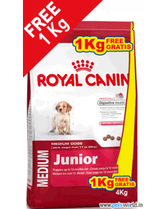 Royal Canin Medium Junior Dog Food 3 Kg + FREE 1 Kg