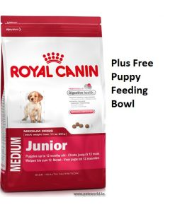 Royal Canin Medium Junior Dog Food 4 Kg  Plus Free Feeding Bowl