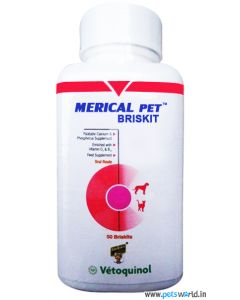 Vetoquinol Merical Pet Briskit Calcium Phosphorus Supplement 50 Tabs