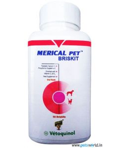 Vetoquinol Merical Pet Briskit Calcium Phosphorus Supplement 100 Tabs