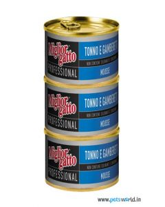 Morando Miglior Gatto Professional Mousse Tuna and Shrimp Can Cat Food 85 gms 3 pcs
