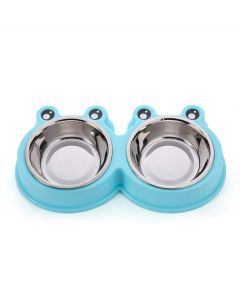 Petsworld Mickey Style Stainless Steel Double Food and Water Bowl for Cat-Puppy Blue