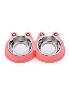 Petsworld Mickey Style Stainless Steel Double Food and Water Bowl for Cat-Puppy Pink