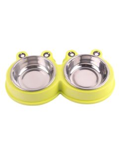 Petsworld Mickey Style Stainless Steel Double Food and Water Bowl for Cat-Puppy Yellow