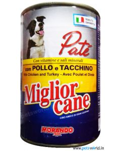 Morando Miglior Cane Pate Chicken and Turkey Gravy Can Dog Food 400 gms