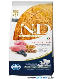 Farmina N&D Low Grain Lamb & Blueberry Adult, Medium Dog Food 12 Kg