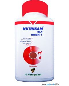 Vetoquinol Nutrisam 365 Briskit Vitamin And Mineral Supplement 50 Tabs